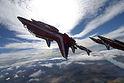 Red Arrows in acrobatic maneuvers