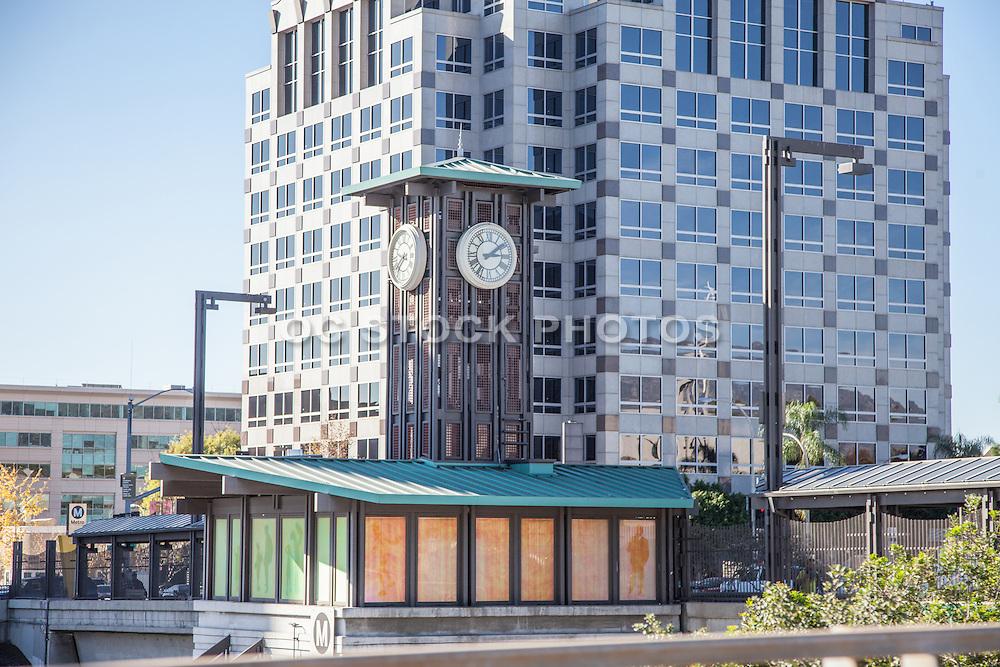 Gold Line Lake Station Clock Tower in Pasadena