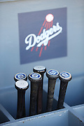 LOS ANGELES, CA - JUNE 17:  Bats are stored in a dugout bin during batting practice before the Los Angeles Dodgers game against the Colorado Rockies at Dodger Stadium on Tuesday, June 17, 2014 in Los Angeles, California. The Dodgers won the game 4-2. (Photo by Paul Spinelli/MLB Photos via Getty Images)