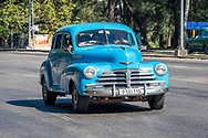 A colorful classic American car from the 1950s , Havana, Cuba