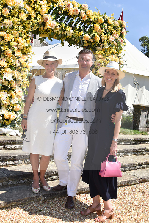The Duchess of Richmond, Laurent Feniou and Carine Feniou  at the 'Cartier Style et Luxe' enclosure during the Goodwood Festival of Speed, Goodwood House, West Sussex, England. 15 July 2018.