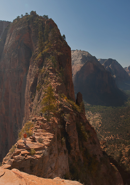 Hikers high above Zion Canyon on Angel's Landing,  Zion National Park