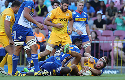 Santiago Cordero of the Jaguares scores the Jaguares second try during the Super Rugby match between DHL Stormers and Jaguares held at DHL Newlands in Cape Town, South Africa on the 4th March 2017.<br /> <br /> Photo by Ron Gaunt/Villar Press