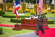 18 NOVEMBER 2012 - BANGKOK, THAILAND:  A US Secret Service agent walks past the reviewing stand before the arrival at President Barack Obama at Government House in Bangkok. US President Barack Obama arrives for the start of his tour of Southeast Asia on November 18, 2012 in Bangkok, Thailand. Barack Obama will become the first US President to visit Myanmar during the four-day tour of Southeast Asia that will also include visits to Thailand and Cambodia.   PHOTO BY JACK KURTZ