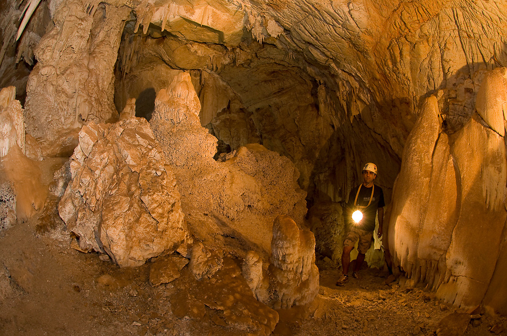 San Miguel Cave in Mato Grosso do Sul. The cave was created by the corrosive action of the water, which slowly dissolved the limestone rock.
