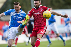 St Johnstone's Thomas Scobbie and Aberdeen's Graeme Shinnie. St Johnstone 1 v 2 Aberdeen. SPFL Ladbrokes Premiership game played 15/4/2017 at St Johnstone's home ground, McDiarmid Park.
