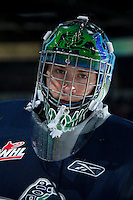 KELOWNA, CANADA -FEBRUARY 10: Danny Mumaugh #1 of the Seattle Thunderbirds stands in the net against the Seattle Thunderbirds on February 10, 2014 at Prospera Place in Kelowna, British Columbia, Canada.   (Photo by Marissa Baecker/Getty Images)  *** Local Caption *** Danny Mumaugh;