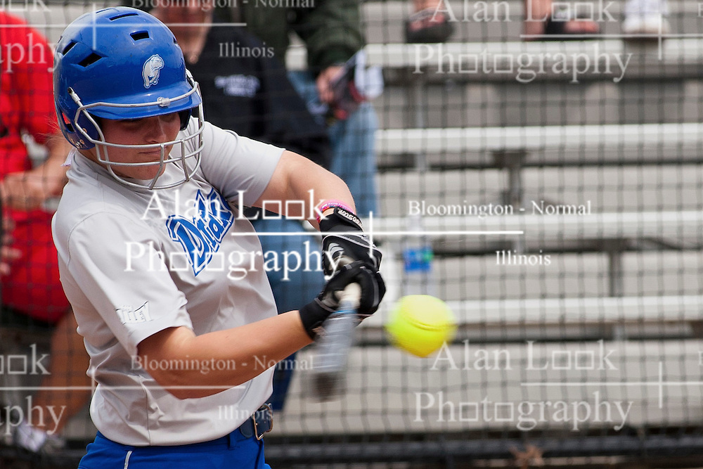 15 April 2012:  Hayley Nybo during an NCAA women's softball game between the Drake Bulldogs and the Illinois State Redbirds on Marian Kneer Field in Normal IL