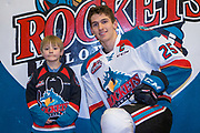 KELOWNA, CANADA - MARCH 24:  Winner with Cal Foote #25 of the Kelowna Rockets at the Kelowna Rockets game on March 24, 2018 at Prospera Place in Kelowna, British Columbia, Canada.  (Photo By Cindy Rogers/Nyasa Photography,  *** Local Caption ***