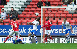 LONDON, ENGLAND - Saturday, October 8, 2011: Tranmere Rovers' Ian Goodison clears the ball away from danger as Charlton Athletic go on the attack during the Football League One match at The Valley. (Pic by Gareth Davies/Propaganda)