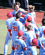 Ole Miss' Ryan Olenek is congratulated by teammates following his three run home run in the 9th inning against Auburn at Oxford-University Stadium in Oxford, Miss. on Sunday, April 24, 2016. <br /> Photo by Joshua McCoy/Ole Miss Athletics<br /> <br /> @olemisspix