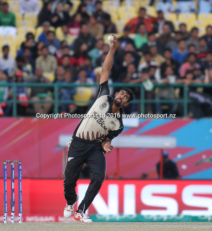 Ish Sodhi bowling during the World T20, 17th Match, Super 10 Group 2: Australia v New Zealand at Dharamsala, Mar 18, 2016, Copyright photo: www.photosport.nz