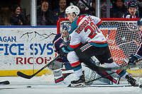 KELOWNA, CANADA - JANUARY 3: Conner Bruggen-Cate #20 of the Kelowna Rockets tries to score a goal on Patrick Dea #30 of the Tri-City Americans on January 3, 2017 at Prospera Place in Kelowna, British Columbia, Canada.  (Photo by Marissa Baecker/Shoot the Breeze)  *** Local Caption ***