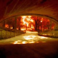 View through an underpass in a park