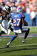 Buffalo Bills rookie cornerback Tre'Davious White (27) intercepts a fourth quarter pass and runs 14 yards to the Bills 38 yard line during the 2017 NFL week 3 regular season football game against the against the Denver Broncos, Sunday, Sept. 24, 2017 in Orchard Park, N.Y. The Bills won the game 26-16. (©Paul Anthony Spinelli)