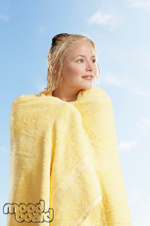Woman Wrapped in Towel on a sunny day