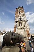 Poland, Krakow. Rynek Glówny (Market Square). Town Hall Tower.