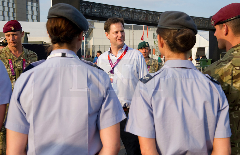© Licensed to London News Pictures. 09/08/2012. London, UK. Deputy Prime Minister, Nick Clegg, meeting British troops on security duties at the Olympic Park in Stratford, East London on August 9, 2012 to hear about their work and thank them in person for all their efforts to help make the Olympics such a success. Photo Credit: Corporal Mark Larner/LNP