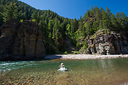 Fly fisherman diving into the cool waters of the Middle Fork of the Flathead River in the remote Great Bear Wilderness in NW Montana.