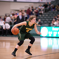 3rd year guard Michaela Kleisinger (2) of the Regina Cougars during the Women's Basketball home game on November 11 at Centre for Kinesiology, Health and Sport. Credit: Arthur Ward/Arthur Images