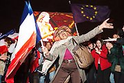 France, Paris, 7 May 2017. Emmanuel Macron's supporters celebrating at Esplanade du Louvre. A former economy minister, centrist independent wins by 66% .
