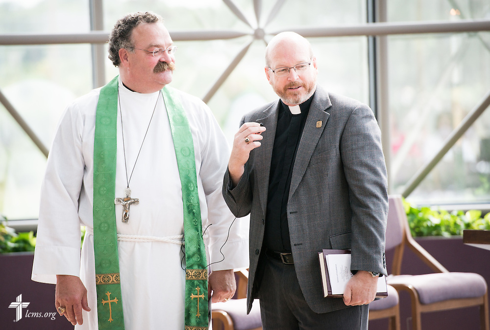 The Rev. Mark Wood (right), director of Witness and Outreach Ministry in the Office of National Mission, speaks next to the Rev. Dr. Matthew C. Harrison, president of The Lutheran Church–Missouri Synod, during a Service of Installation in the International Center chapel of The Lutheran Church–Missouri Synod on Wednesday, Sept. 3, 2014, in Kirkwood, Mo. LCMS Communications/Erik M. Lunsford