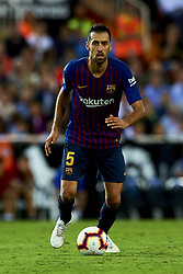 October 8, 2018 - Valencia, Valencia, Spain - Sergio Busquets  in action during the week 8 of La Liga match between Valencia CF and FC Barcelona at Mestalla Stadium in Valencia, Spain on October 7, 2018. (Credit Image: © Jose Breton/NurPhoto/ZUMA Press)