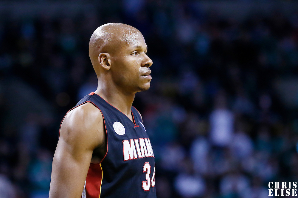 27 January 2013: Miami Heat shooting guard Ray Allen (34) rests during the Boston Celtics 100-98  2OT victory over the Miami Heat at the TD Garden, Boston, Massachusetts, USA.