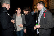 JOHNNY SHAND-KYDD; REBECCA GUINNESS; ADAM WAYMOUTH; HERON WHITE, Dazed & Confused 20th Anniversary Exhibition. Somerset House. London. 3 November 2011<br /> <br />  , -DO NOT ARCHIVE-© Copyright Photograph by Dafydd Jones. 248 Clapham Rd. London SW9 0PZ. Tel 0207 820 0771. www.dafjones.com.