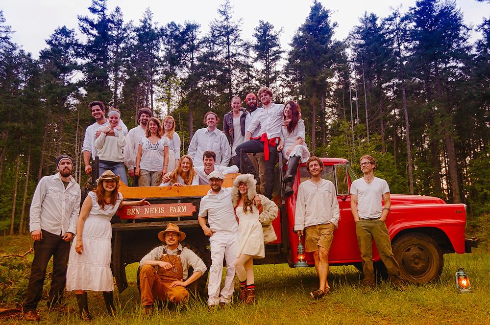 Farm folk dressed for Beltane or May Day on Ben Nevis Farm, Shaw Island, Island County, Washington.