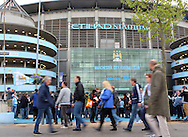 Atmosphere ahead of the Manchester City against West Ham United match in the Barclays Premier League at the Etihad Stadium, Manchester<br /> Picture by John Rainford/Focus Images Ltd +44 7506 538356<br /> 11/05/2014