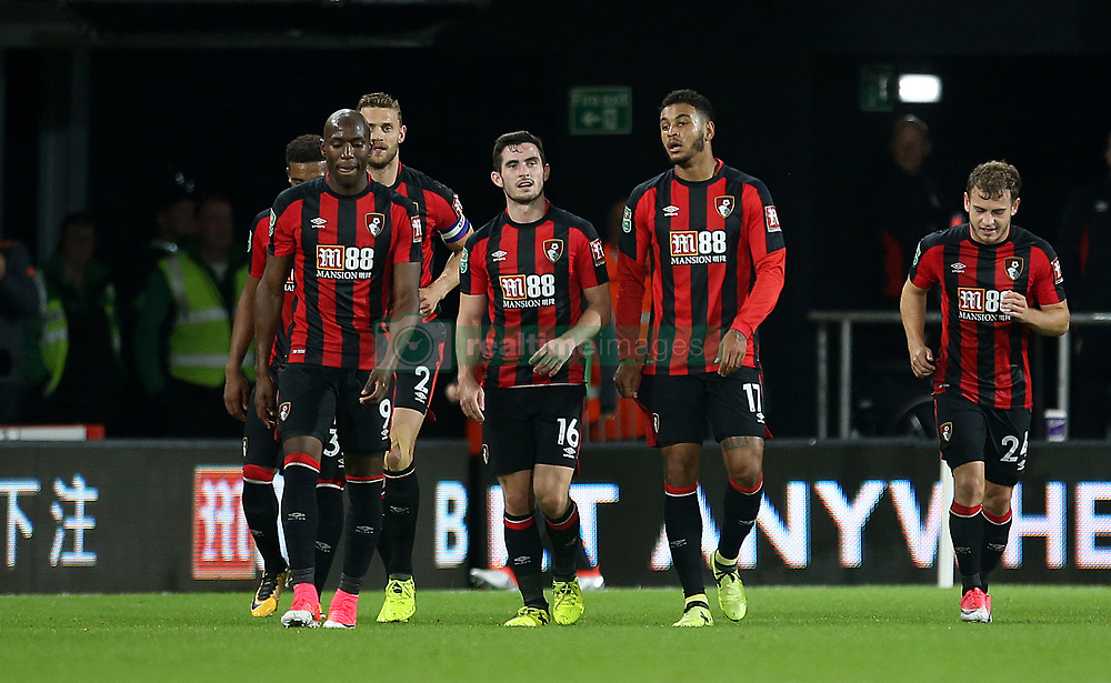 AFC Bournemouth Josh King (second right) celebrates scoring his side's first goal of the game with teammates during the Carabao Cup, third round match at the Vitality Stadium, Bournemouth.