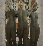 Three Graces, copy of a Roman statue based on a Hellenistic Greek statue of 4th - 2nd century BC, in the Piccolomini Library, commissioned c. 1492 by Archbishop Cardinal Francesco Todeschini Piccolomini (future Pius III) in memory of his uncle Aeneas Silvius Piccolomini (Pope Pius II), adjacent to the North wall of the Duomo di Siena or Siena Cathedral, built 1196-1348 and consecrated in 1215, in Siena, Tuscany, Italy. The historic centre of Siena is listed as a UNESCO World Heritage Site. Picture by Manuel Cohen