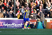 Accrington Stanley forward Billy Kee (29) celebrates his goal to make it 0-2 to Accrington Stanley during the The FA Cup match between Woking and Accrington Stanley at the Kingfield Stadium, Woking, United Kingdom on 4 December 2016. Photo by David Charbit.