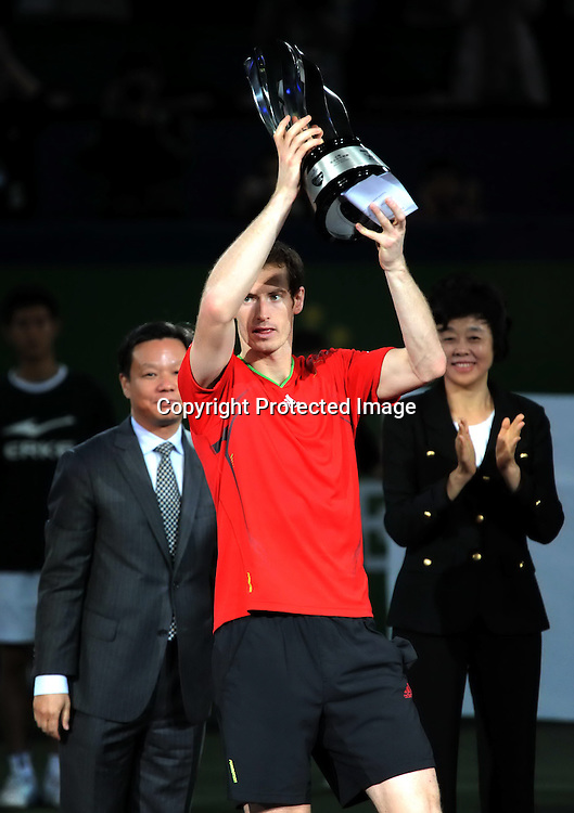 Oct 16, 2011; Shanghai, CHINA; Andy Murray of Great Britain defeats David Ferrer of Spain 2:0 in the final match of the 2011 Shanghai Rolex Masters at the Qizhong Tennis Center.