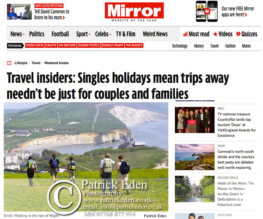Isle of Wight Walking Festival, Freshwater Bay, Isle of Wight, UK, The Daily Mirror,