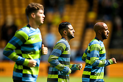 Riyad Mahrez of Manchester City warms up alongside John Stones of Manchester City and Fabian Delph of Manchester City - Mandatory by-line: Robbie Stephenson/JMP - 25/08/2018 - FOOTBALL - Molineux - Wolverhampton, England - Wolverhampton Wanderers v Manchester City - Premier League