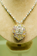 Christie's show off major pieces to be autioned in their Magnificent Jewels sale in Geneva. These include: the Blue - the largest flawless vivid blue diamond in the world, estimate $21-25m; the Rajah - a brilliant cut diamond of 26.14 carats, est $3-5m; A square cut necklace  (pictured) - est $7m; and the Ocean Dream - the largest fancy vivid bluee-green diamond. King Street, London, UK.