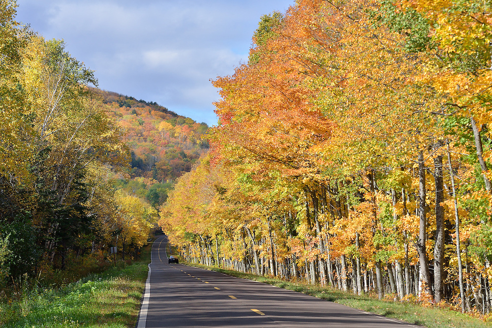 An October morning on M-107 in the Porcupine Mountains.<br /> Michigan's Upper Peninsula