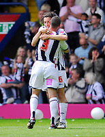 Photo: Leigh Quinnell.<br /> West Bromwich Albion v Barnsley. Coca Cola Championship. 06/05/2007. West Broms Robert Koren gets a hog from team mate Paul Robinson after Robert scored West Broms fourth goal.