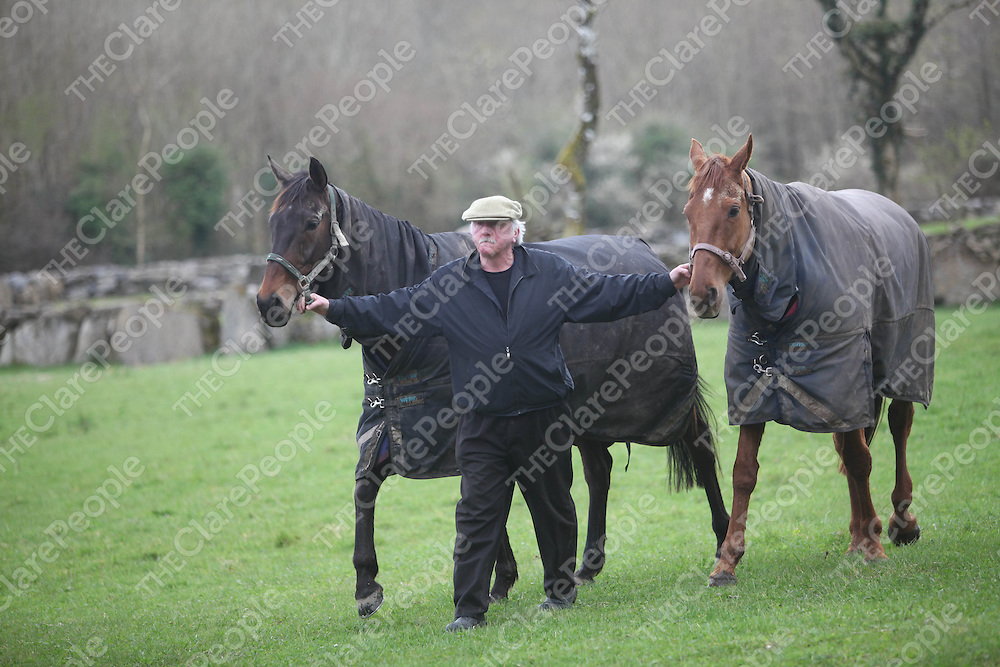 Noel Glynn pictured with Gonebeyondrecall and Becauseicouldnotsee at Durra House, Spancilhill in Clare on Monday.<br /> Pic. Brian Arthur/ Press 22.
