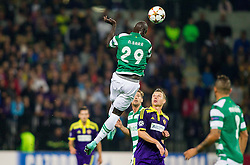 Naby Sarr of Sporting vs Dare Vrsic of Maribor during football match between NK Maribor and Sporting Lisbon (POR) in Group G of Group Stage of UEFA Champions League 2014/15, on September 17, 2014 in Stadium Ljudski vrt, Maribor, Slovenia. Photo by Vid Ponikvar  / Sportida.com