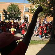Striking Chicago teachers march on Washington Street after a rally at Union Park, west of downtown Chicago, as the union finalizes details of the contract with Chicago Public School Saturday September 15, 2012. Jose More Photography .               .
