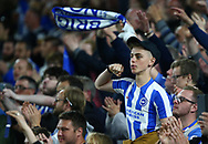 Brighton fans celebrate during the Premier League match between Brighton and Hove Albion and Manchester United at the American Express Community Stadium in Brighton and Hove. 04 May 2018