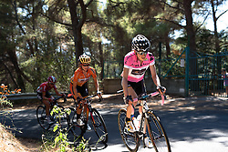 Mara Abbott (Wiggle High5) gets out of the saddle on the final climb at Giro Rosa 2016 - Stage 6. A 118.6 km road race from Andora to Alassio, Italy on July 7th 2016.