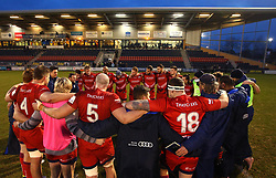 Bristol Rugby huddle after beating Doncaster Knights in the B&I Cup - Mandatory by-line: Robbie Stephenson/JMP - 13/01/2018 - RUGBY - Castle Park - Doncaster, England - Doncaster Knights v Bristol Rugby - B&I Cup