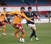 Motherwell's Josh Law and Dundee's Kostadin Gadzhalov -  Dundee v Motherwell, SPFL Premiership at Dens Park <br /> <br /> <br />  - &copy; David Young - www.davidyoungphoto.co.uk - email: davidyoungphoto@gmail.com