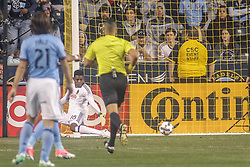 April 14, 2017 - Chester, PA, United States of America - Philadelphia Union Keeper ANDRE BLAKE (1) attempts to make the save in the second half of a Major League Soccer match between the Philadelphia Union and New York City FC Friday, Apr. 17, 2016 at Talen Energy Stadium in Chester, PA...New York City FC Midfielder JACK HARRISON (11) was credited with goal in 52:00 minute. (Credit Image: © Saquan Stimpson via ZUMA Wire)
