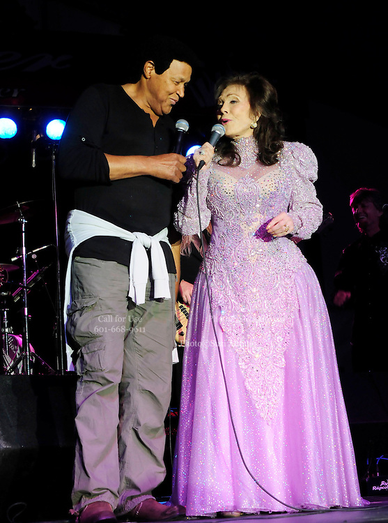 (Jackson,MS) Born a coal miners daughter, legendary country singer/songwriter Loretta Lynn, performs at the Mississippi State Fair Tuesday October 12, 2012. Loretta was joined on stage for two songs by another legend Chubby Checkers. Photo ©Suzi Altman