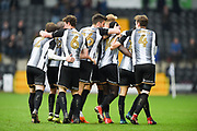 The Magpies celebrate after Notts County forward Jonathan Forte (14) scored a goal to make it 1-0 during the EFL Sky Bet League 2 match between Notts County and Coventry City at Meadow Lane, Nottingham, England on 7 April 2018. Picture by Jon Hobley.